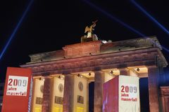 Brandenburg Gate 20th Jubilee. On November 9th 2009 happened the Celebration of the Fall of Berlin Wall. Pupils have Designed hundreds of Wall Elements which Royalty Free Stock Photo