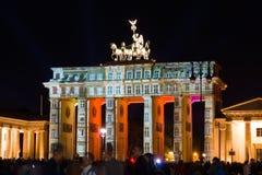 Brandenburg Gate. In the original illumination. Festival of Light 2012 Stock Photos