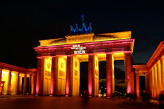 Brandenburg Gate. Colorful illuminated during the 'Festival of Lights' in Berlin, Germany Stock Image