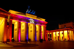 Brandenburg Gate. Colorful illuminated during the 'Festival of Lights' in Berlin, Germany Royalty Free Stock Photo