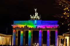 Brandenburg gate anf festival of lights in Berlin. BERLIN, GERMANY - OCTOBER 17: Festival of lights and Brandenburg gate in Berlin, Germany on October 17, 2013 stock image