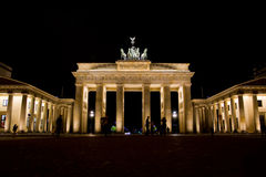 Brandenburg gate, Berlin. Historical and symbolic landmark in Berlin - Brandenburg gate by night stock photography