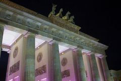 Brandenburg Gate in Berlin. The Brandenburg Gate is topped by the Quadriga,  Berlin (Germanys Capital), Germany, Europe Royalty Free Stock Images
