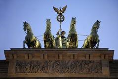 The Brandenburg Gate in Berlin. The quadriga statue ontop of the Brandenburg Gate - Berlin, Germ stock photos
