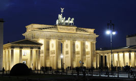 Brandenburg Gate in Berlin. At night royalty free stock images