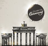 Brandenburg gate. Berlin arch symbol. Hand drawn Royalty Free Stock Images
