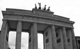 Brandenburg Gate in Berlin. Black and white photo. Germany Brandenburg Gate in Berlin. Horses are at the top of the gate. Black and white photo royalty free stock photos