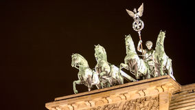 Brandenburg Gate, Berlin. Detail view of the historic Brandenburg Gate in Berlin, Germany, with the famous quadriga visible on top Stock Photo
