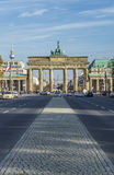 Brandenburg Gate in Berlin with the fernsehtower with people an. BERLIN, GERMANY - OCT 27, 2014: view to Brandenburg Gate Brandenburger Tor in Berlin with the stock photography