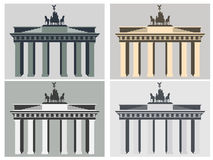 Brandenburg Gate in Berlin. Flat icon set. Harmonious colors. Stock Images