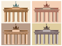 Brandenburg Gate in Berlin. Flat icon set. Harmonious colors. Stock Photography