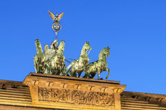 Brandenburg Gate, Berlin. The Brandenburg Gate is a former city gate, rebuilt in the late 18th century as a neoclassical triumphal arch, and now one of the most stock images