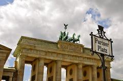 Brandenburg Gate, Berlin. The Four Horses of the Quadriga, on top of the Brandenburg gate, Berlin royalty free stock image
