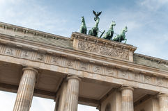 Brandenburg Gate in Berlin. The Brandenburg Gate (German: Brandenburger Tor) is a former city gate, rebuilt in the late 18th century as a neoclassical triumphal royalty free stock image