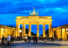 Brandenburg gate in Berlin, Germany. BERLIN - AUGUST 20: Brandenburg gate Brandenburger Tor on August 20, 2017 in Berlin, Germany. It`s an 18th-century Royalty Free Stock Images