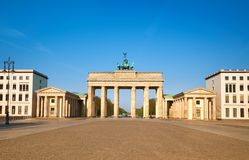 Brandenburg Gate in Berlin, Germany, on a bright day with blue s Stock Photography