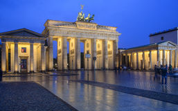 The brandenburg gate berlin germany europe. Night view of the brandenburg gate in berlin stock images