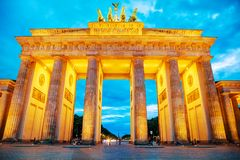 Brandenburg gate in Berlin, Germany. In the evening royalty free stock images