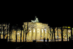 Brandenburg Gate. Berlin, Germany - 29.11.2016. Brandenburg Gate in Berlin, Germany illuminated at night stock image