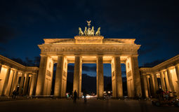 Brandenburg Gate Berlin Germany. Berlin, Germany - January 16, 2016: Illuminated famous neoclassical triumphal arch of Brandenburg Gate one of the best-known royalty free stock photography