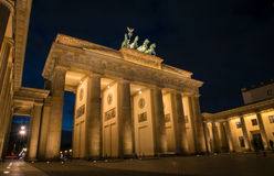 Brandenburg Gate Berlin Germany. Berlin, Germany - January 16, 2016: Illuminated famous neoclassical triumphal arch of Brandenburg Gate one of the best-known royalty free stock image