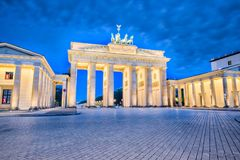 Brandenburg gate in Berlin, Germany at night royalty free stock images