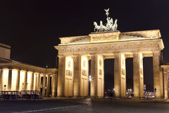 Brandenburg Gate, Berlin. Germany by night - long exposure stock photography