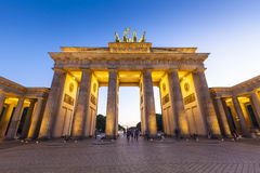 Brandenburg Gate, Berlin, Germany. Pretty night time illuminations of the Brandenburg Gate (1788) inspired by Greek architecture, built as a symbol of peace and royalty free stock images