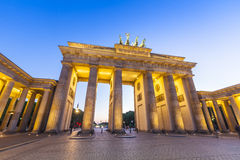 Brandenburg Gate, Berlin, Germany. Pretty night time illuminations of the Brandenburg Gate (1788) inspired by Greek architecture, built as a symbol of peace and royalty free stock photo