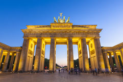 Brandenburg Gate, Berlin, Germany. Pretty night time illuminations of the Brandenburg Gate (1788) inspired by Greek architecture, built as a symbol of peace and stock photos