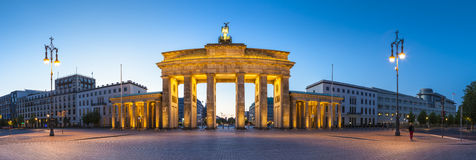 Brandenburg Gate, Berlin, Germany. Pretty night time illuminations of the Brandenburg Gate (1788) inspired by Greek architecture, built as a symbol of peace and stock images