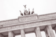 Brandenburg Gate, Berlin, Germany. Quadriga Sculpture by Gottfried at Brandenburg Gate in Berlin, Germany in Black and White Sepia Tone stock photography