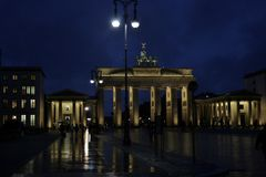 The Brandenburg Gate in Berlin, Germany. Berlin, Germany - 18 September 2011 - The Brandenburg Gate on a rainy night royalty free stock photography