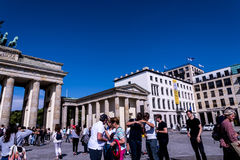 The Brandenburg Gate In Berlin Germany. The Brandenburg Gate is an 18th-century neoclassical monument in Berlin, built on the orders of Prussian king Frederick stock photos