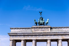 The Brandenburg Gate In Berlin Germany. The Brandenburg Gate is an 18th-century neoclassical monument in Berlin, built on the orders of Prussian king Frederick royalty free stock image