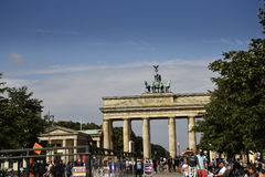 The Brandenburg Gate In Berlin Germany. The Brandenburg Gate is an 18th-century neoclassical monument in Berlin, built on the orders of Prussian king Frederick stock images