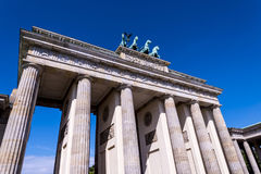 The Brandenburg Gate In Berlin Germany. The Brandenburg Gate is an 18th-century neoclassical monument in Berlin, built on the orders of Prussian king Frederick stock photo