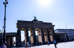 The Brandenburg Gate In Berlin Germany. The Brandenburg Gate is an 18th-century neoclassical monument in Berlin, built on the orders of Prussian king Frederick royalty free stock photo