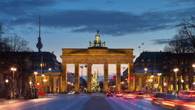 The Brandenburg Gate. In Berlin, Germany. Timelapse view