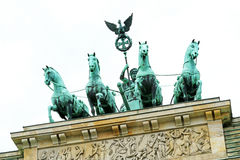 Brandenburg Gate, Berlin, Germany.  White Sky Background Stock Image