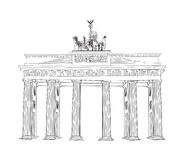 The Brandenburg gate in Berlin. Hand drawn pencil sketch  illustration. Brandenburger Tor in Berlin, Germany Stock Photos