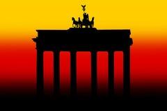 Brandenburg Gate Berlin. An illustration of the Brandenburg Gate set against the colors of the German flag stock image