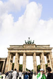 Brandenburg Gate is Berlin`s most famous landmark. A symbol of Berlin and German division during the Cold War, Royalty Free Stock Photography