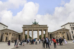 Brandenburg Gate is Berlin`s most famous landmark. A symbol of Berlin and German division during the Cold War, Royalty Free Stock Photo