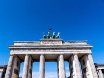 The Brandenburg Gate is Berlin`s most famous landmark. A symbol of Berlin and German division during the Cold War Stock Photography