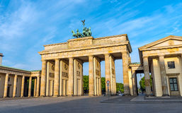 The Brandenburg Gate in Berlin after sunrise. The famous Brandenburg Gate in Berlin after sunrise Royalty Free Stock Image