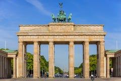 The Brandenburg Gate in Berlin at sunrise stock image