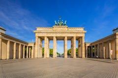 The Brandenburg Gate in Berlin at sunrise stock images