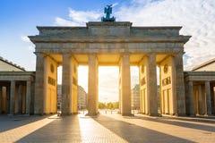 The Brandenburg Gate in Berlin. At sunrise, Germany royalty free stock photo