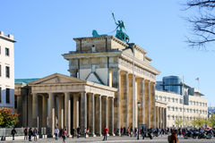 The Brandenburg Gate in Berlin at sunrise, Germany. The Brandenburg Gate in Berlin at sunrise stock photo